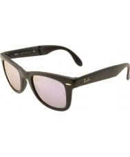 RayBan Rb4105 50 folde wayfarer mat sort 601s4k lilla spejlet solbriller