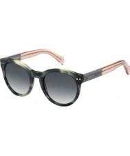 Tommy Hilfiger Ladies th 1291-ns MBR 9o grønne havana lyserøde solbriller