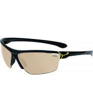 Cebe Cinetik store skinnende sorte gule solbriller