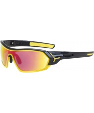 Cebe S-print skinnende sorte gule solbriller