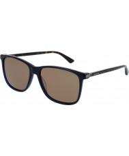 Gucci Mens gg0017s blå havana solbriller