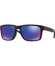 Oakley Oo9102-36 Holbrook mat sort - rød iridium solbriller