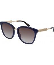 Gucci Gg0073s blå guld solbriller