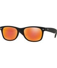 RayBan Rb2132 52 nye wayfarer gummi sort 622-69 røde spejl solbriller