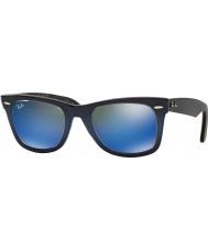 RayBan RB2140 50 originale wayfarer top blå gradient på lyseblå 120368 blå spejl solbriller