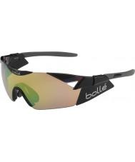 Bolle 6th Sense s skinnende sort modulator brun smaragd solbriller