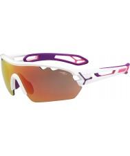 Cebe S-track mono medium skinnende hvid pink 1500 grå spejl lyserøde solbriller med klart udskiftning linse