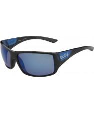Bolle Tigersnake skinnende sorte matte blå polariserede offshore blå solbriller