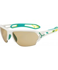 Cebe S-track store mat hvid turkis variochrom PERFO solbriller med 500 klare udskiftning linse