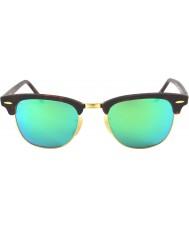 RayBan Rb3016 51 Clubmaster sand skildpaddeskal-guld 114519 grønne spejl solbriller