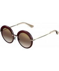 Jimmy Choo Dame Gotha-s 65L QH bordeaux guld spejl solbriller