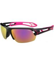 Cebe S-track medium skinnende sort magenta 1500 grå spejl lyserøde solbriller med klart udskiftning linse