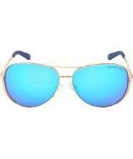 Michael Kors Mk5004 59 chelsea rosa guld 100.325 blå spejlet solbriller